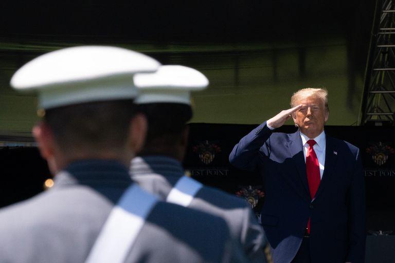 Donald Trump, este sábado en la academia militar de West Point.