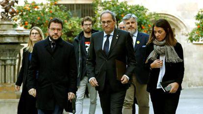 Quim Torra, Pere Aragonès y Meritxell Budo, este miércoles en el Palau de la Generalitat.