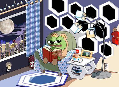 Meme en el que Pepe The Frog descansa en su apartamento de lujo desde que $LINK le hizo millonario. El logo de la 'token' se ve en en todo el mobiliario.