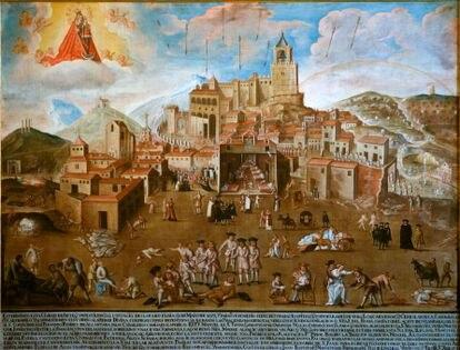 'La peste de Antequera', óleos sobre lienzo 1680-1732, anónimo que se encuentra en la iglesia del convento de Santo Domingo, en Antequera (Málaga). / JERÓNIMO VILLENA