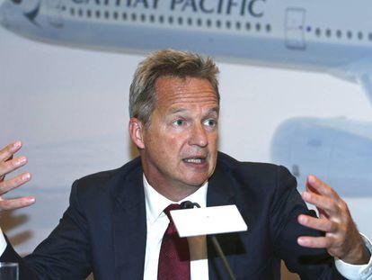 El consejero delegado de Cathay Pacific, Rupert Hogg, en una rueda de prensa el pasado 8 de agosto.
