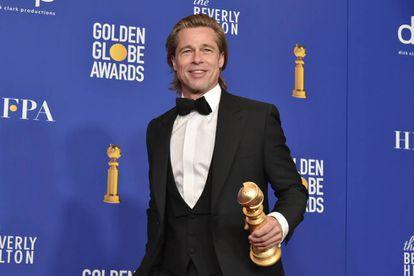 Brad Pitt, tras recibir el Globo de Oro, en Beverly Hills (California, EE UU), el pasado domingo.