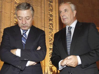 José Blanco, a la izquierda, con Pachi Vázquez en un acto en Santiago en octubre de 2011.