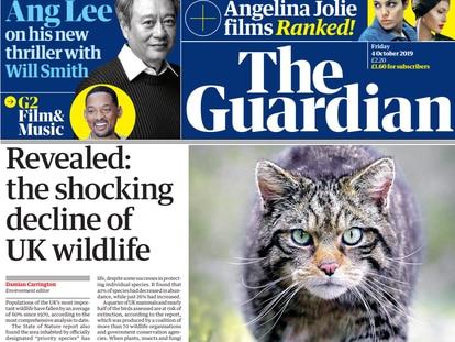 Portada del diario 'The Guardian'.