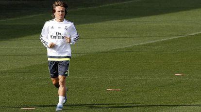 Modric, durante el entrenamiento del viernes.