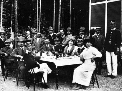 Descanso de la competición de los Juegos Olímpicos de 1912 en Estocolmo.