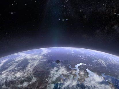 Impresión artística de uno de los satélites de Oneweb en órbita.