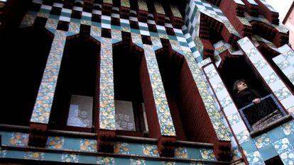 Detalle de la fachada de la Casa Vicens.