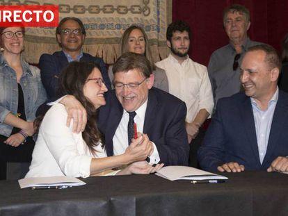 En foto: Mónica Oltra, Ximo Puig y Rubén Martínez Dalmau, en Alicante. En vídeo, retransmisión en directo del debate de investidura.