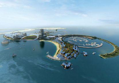 Recreación de la isla que albergará el parque temático del Real Madrid