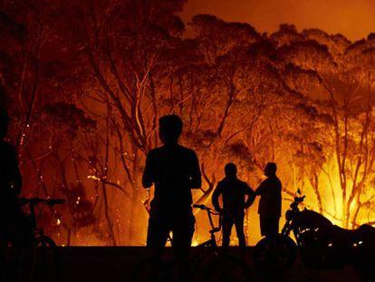 Unos vecinos observan las llamas en torno a su localidad, este sábado en Tabourie Lake (Nueva Gales del Sur). En vídeo, imágenes del sol cubierto en Australia.