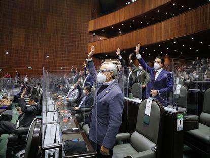 El diputado de Morena Mario Delgado vota en la Cámara de Diputados de México la ley de extinción de los fideicomisos federales el pasado jueves.
