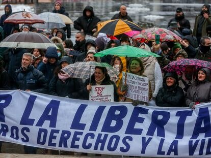 Un grupo de manifestantes, en la concentración convocada por el centro de la capital contra las medidas impuestas y la crisis sanitaria de la covid-19, este sábado en Madrid.