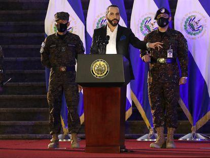 El presidente de El Salvador, Nayib Bukele, ofrece un discurso el pasado 19 de julio.