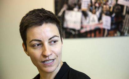 La candidata de Los Verdes, Ska Keller, en su despacho de la Eurocámara, en abril.