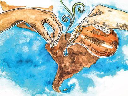 Parte de la portada del libro 'Comercio justo en clave decolonial' de Mario Coscione.