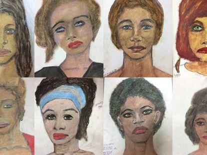 Retratos hechos por Samuel Little de sus víctimas. En vídeo, los testimonios del asesino.