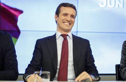 Pablo Casado en la sede el PP, el pasado 18 de febrero.