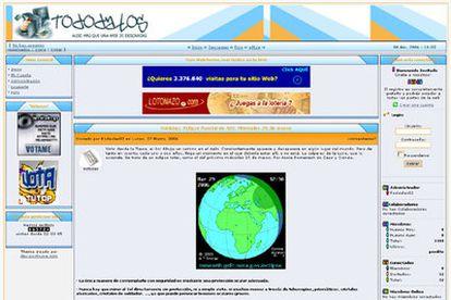 Página web tododatos.com, uno de los sitios afectados por la operación policial.
