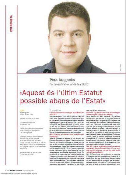Pere Aragonès, en 2005, en una entrevista como portavoz de las juventudes de ERC en la revista 'Esquerra Nacional'.