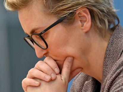 Susanne Hennig-Wellsow, una de las dos líderes de Die Linke, el lunes en una rueda de prensa en Berlín.