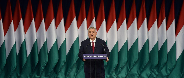 El primer ministro de Hungría, Viktor Orban, durante su discurso anual a la nación el pasado 16 de febrero.