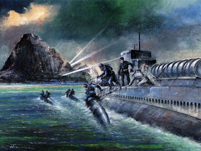 Reconstrucción de un ataque a Gibraltar con torpedos humanos.
