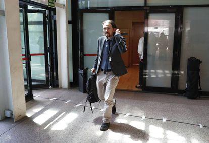 Pablo Iglesias, en la Asamblea de Madrid el día de la moción de censura a Cristina Cifuentes.