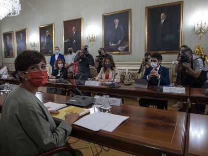 Isabel Rodríguez, ministra de Política Territorial, este lunes en la reunión de la comisión bilateral entre el Gobierno y la Generalitat.