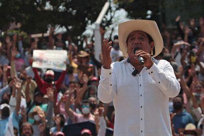 Félix Salgado Macedonio durante un mitin de protesta en la ciudad de Chilpancingo, estado de Guerrero.