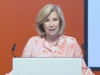 La consejera delegada de Bankinter, María Dolores Dancausa, en la presentación de los resultados del primer semestre de 2021 de la entidad.