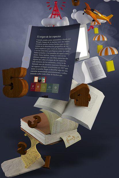 La evolución del libro, en 35 siglos, y su eclosión en su quinta mutación, la electrónica, vista por Mr.Oso.