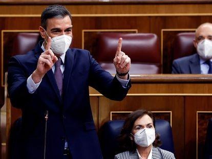 El presidente del Gobierno, Pedro Sánchez durante la sesión de control al Gobierno, este miércoles, en el Congreso de los Diputados.