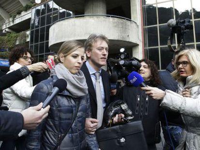 Carolina Kostner, a la salida de la sede del CONI, después de que le comunicaran la sanción de 16 meses