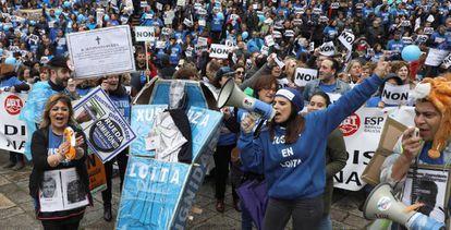 Protesta de trabajadores de la Administración de Justicia en Galicia
