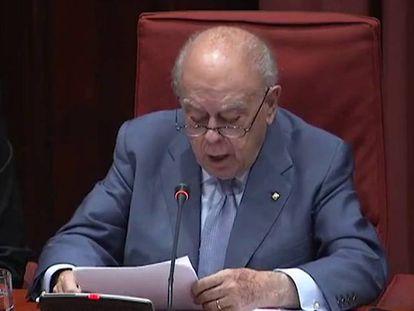 El expresidente de la Generalitat Jordi Pujol, durante su declaración en el Parlament sobre el dinero en el extranjero.