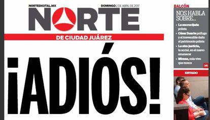 Portada de la última edición impresa del Norte de Ciudad Juárez.