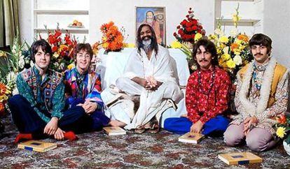 Four Beatles, with Maharishi Mahesh Yogi in India in 1968.