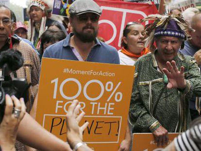 DiCaprio, en la manifestación de Nueva York en contra del Cambio Climático.