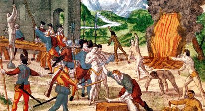 Cuadro que ilustra a los hombres del conquistador Hernando de Soto torturando indígenas.