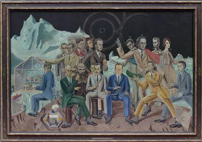 Au rendez-vous des amis (1922), de Max Ernst, perteneciente a la colección del Museo Ludwig de Colonia. Retrato colectivo de los integrantes del grupo surrealista (y dos intrusos: Rafael y Dostoievski). Gala, flanqueada por De Chirico y Robert Desnos, es la única mujer.