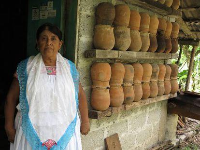 La meliponicultora Margarita Madero, en su casa en Cuetzalan.