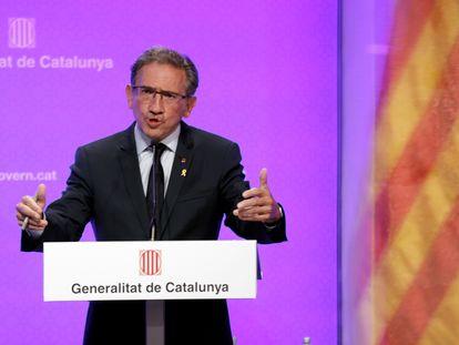 El conseller de Economía de la Generalitat de Cataluña, Jaume Giró, este martes durante una rueda de prensa.