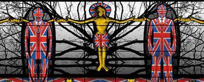 <i>Christian England</i> (Inglaterra cristiana), obra de Gilbert & George que se expone en Londres.
