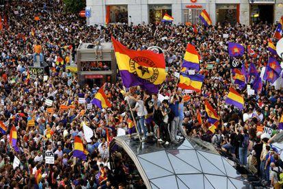 Manifestación a favor de la República celebrada en junio de 2014, en la Puerta del Sol de Madrid.