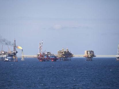 Una plataforma petrolera en el golfo de México.