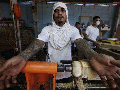 Miembro de la Mara Salvatrucha en la prisión de San Pedro Sula.
