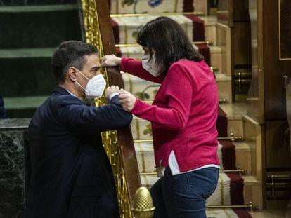 Pedro Sánchez y Adriana Lastra en el Congreso, el pasado mes de marzo.