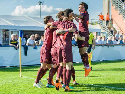 Los jugadores del Barça celebran uno de sus goles ante el City.
