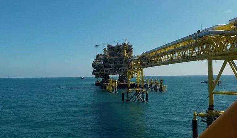 Instalaciones de la plataforma petrolera Abkatún Alfa, en el Golfo de México.